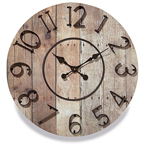 World Iron Wall - Whole House Worlds The Iconic Farmer's Wall Clock, Raised Iron Numerals, MDF Wood, Reclaimed Repurposed Vintage Style, Over 2 Ft Diameter (27 1/2 Inches) Battery Powered, By