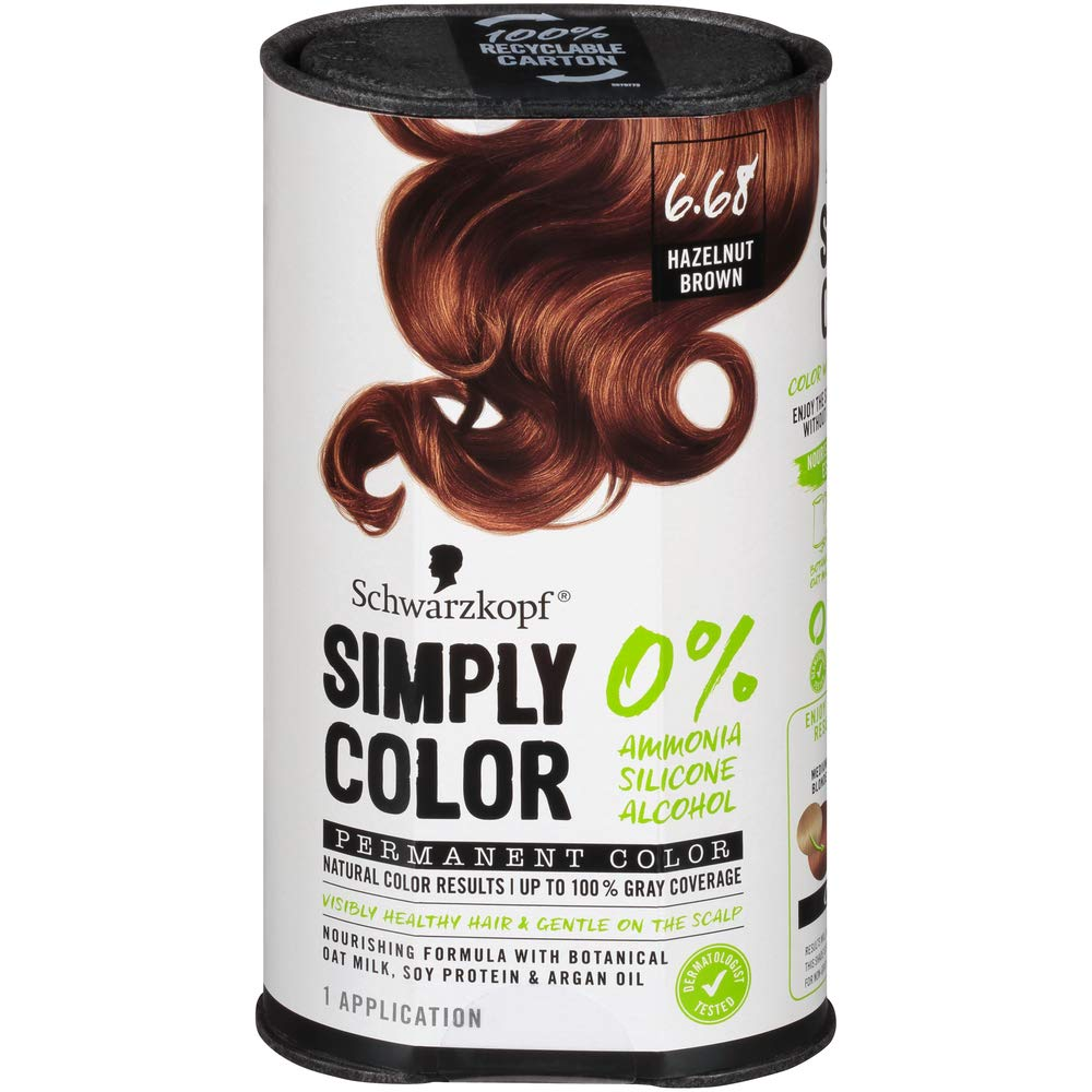 Schwarzkopf Simply Color Permanent Hair Color, 6.68 Hazelnut Brown