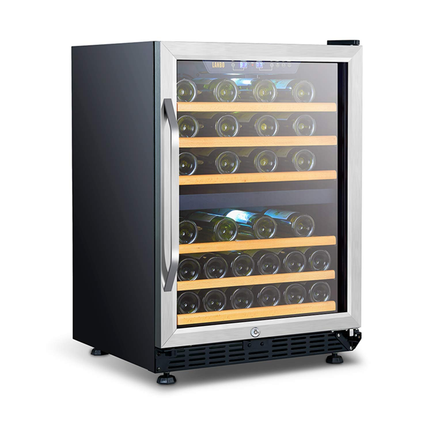 LANBO Dual Zone Wine Refrigerator, 46 Bottle Built-in Under Counter Compressor Wine Cooler, 24 Inch Wide