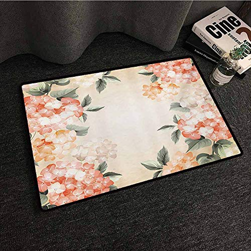 Zzmdear Floral Front Door Mat Large Outdoor Indoor Blooming Hydrangea Flowers Leaves Bouquet Vintage Style Spring Nature Print Personality W24 xL35 Salmon Reseda Green