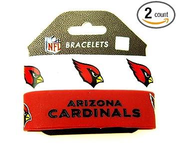 Amazon.com : NFL Arizona Cardinals Silicone Rubber Bracelet Set, 2 ...