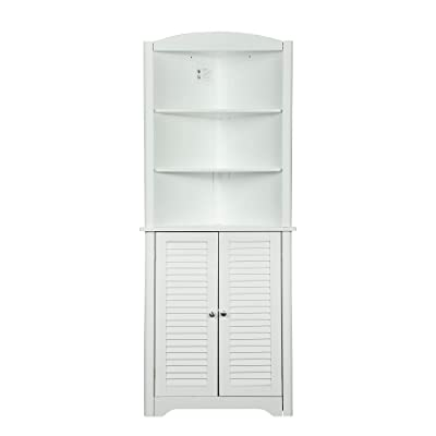 Buy Function Home Free Standing Linen Cabinet Contemporary Tall Corner Cabinet Storage Cabinet With 2 Doors And 3 Tier Shelves Perfect For Bathroom Kitchen Living Room Or Bedroom White Online In Indonesia B091fj7hw9
