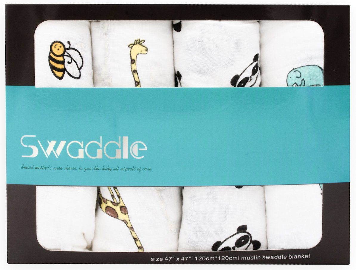 KNUT Baby Muslin Swaddle blanket set for girl and boy- Extra soft-medium to large swaddling wrap 4 set for newborn-100% cotton swaddle blankets perfect for baby's delicate skin-Cute animals-unisex