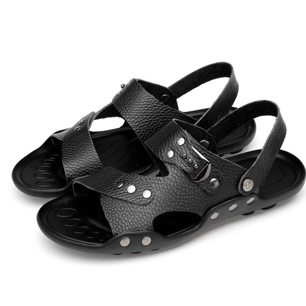 Xiaoqin Männer offene Zehe Casual Leder für Comfort Schuhe Sandalen geeignet für Leder Innen- und Outdoor-Freizeit-Sport (Farbe : Dark Braun, Größe : 47) schwarz 109095