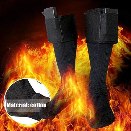 Calcetines Térmicos para Mujer Hombre Calentadores De Pies Negro Calefactable para Esquí Al Aire Libre,