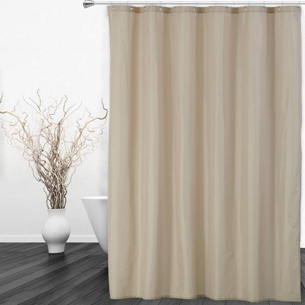 CAROMIO Hotel Quality 100% Waterproof Fabric Shower Curtain or Liner for Bathroom with Rustproof Metal Grommets Weighted Hem, 72 x 72 inches, Tan