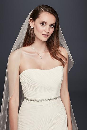222d8003572f David's Bridal Crinkle Chiffon Wedding Dress with Draping Style V3540 at  Amazon Women's Clothing store: