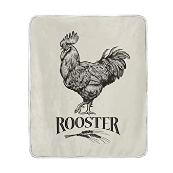d5da51d59708 AMONKA Throw Blanket Rooster Soft Warm Bed Sofa Couch Blanket Lightweight  Polyester Microfiber for Kids Boys