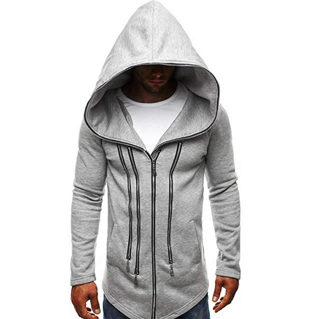 TOOSD Männer Kapuzenpullover, Pullover Dunkler Mantel Anzug Assassins Creed Zipper Baumwollmischung Große Lange Sweatshirt - M-XXL,B,XXL