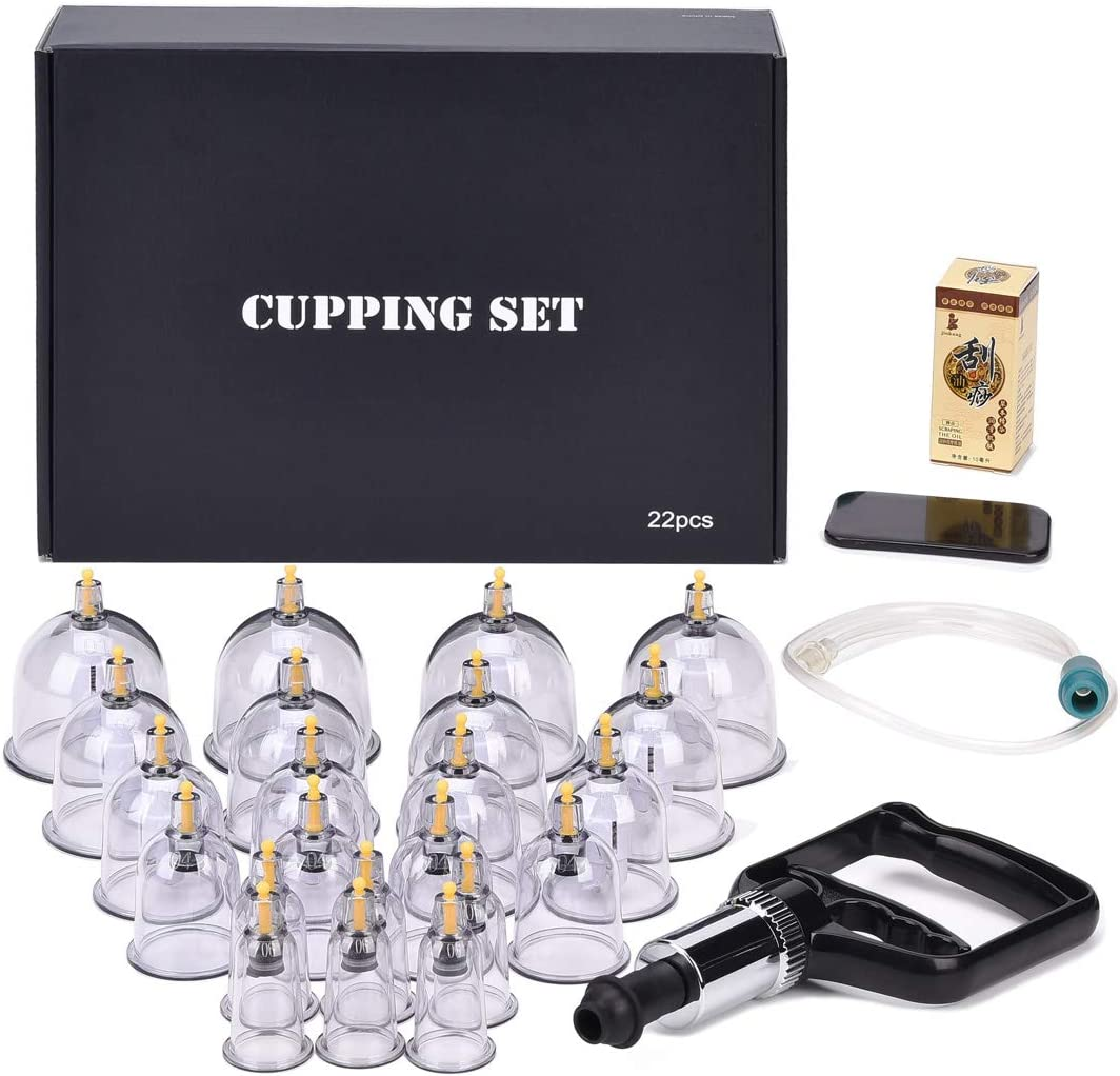 Cupping Set,Professional Chinese Acupoint Cupping Therapy Sets Suction Hijama Cupping Set with Vacuum Magnetic Pump Cellulite Cupping Massage Kit 22-Cups