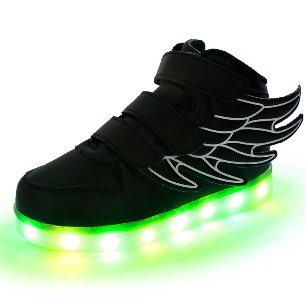 LED Light up Shoes Kids 7 Colors Sneakers for Boys Girls Christmas Halloween Gift(Black 11 M US Little Kid)