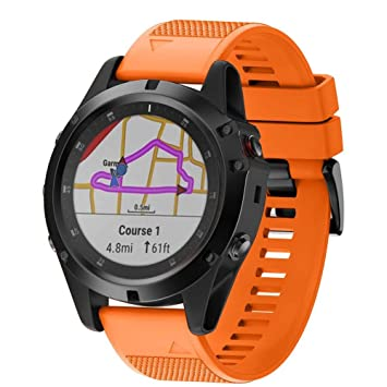 Crewell - Correa de Reloj de Silicona Suave para Garmin Fenix 5X ...