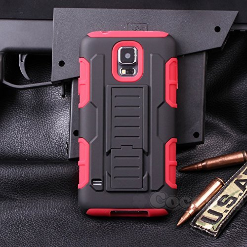 Galaxy S5 Mini Case, Cocomii® [HEAVY DUTY] Galaxy S5 Mini Robot Case **NEW** [ULTRA FUTURE ARMOR] Premium Belt Clip Holster Kickstand Bumper Case [MILITARY DEFENDER] Full-body Rugged Dual Layer Hybrid Protective Cover Bumper Case [COCOMII WARRANTY] ::: The Ultimate Protection from Drops and Impacts for your Samsung Galaxy S5 Mini G800 (Black/Red) ::: ★★★★★