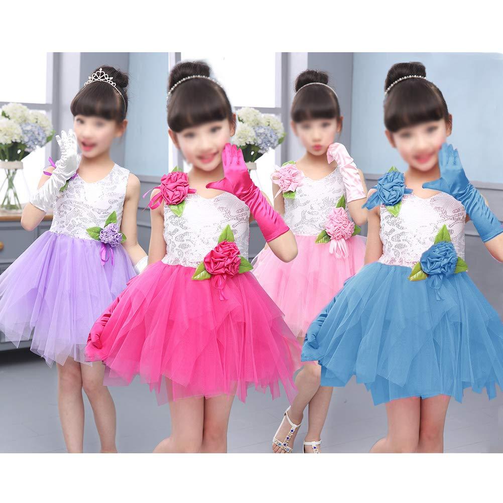 Princess Dress up Gloves Wedding 4Pcs Shiny Silky Satin Girls Glove for Party