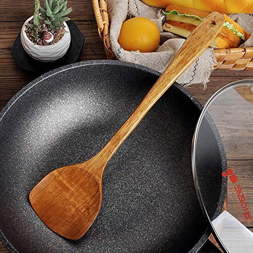 ( Spatula, Long Wooden Cooking Rice Spatula Scoop Kitchen Utensil Non-Stick Hand Wok Shovel)