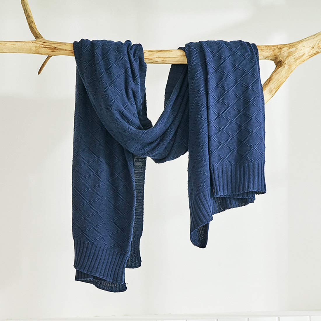 LilyAngel ホームオフィスの旅行浜のために適した編まれた毛布の綿の麻布の軽量のハンドメイドの余暇のソファーのエアコンのキルト (色 : 青, サイズ : 180*200CM) 180*200CM 青 B07SFC8FNY