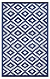 Lightweight Outdoor Reversible Plastic Nirvana Rug (6 X 9, Navy / White)