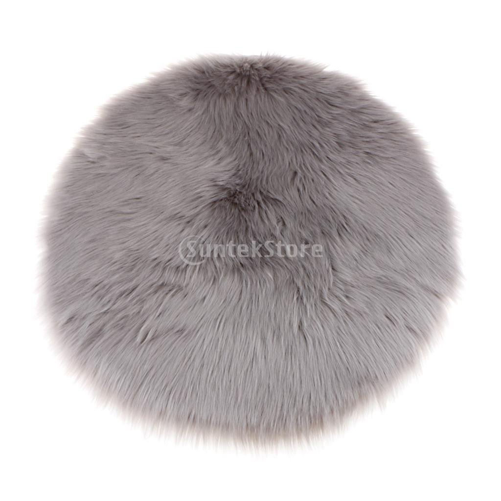 Baoblaze Super Soft Faux Sheepskin Sofa Stool Chair Cover Pad Rug/Shaggy Area Rugs Floor Mats - Black, 30x30x6cm