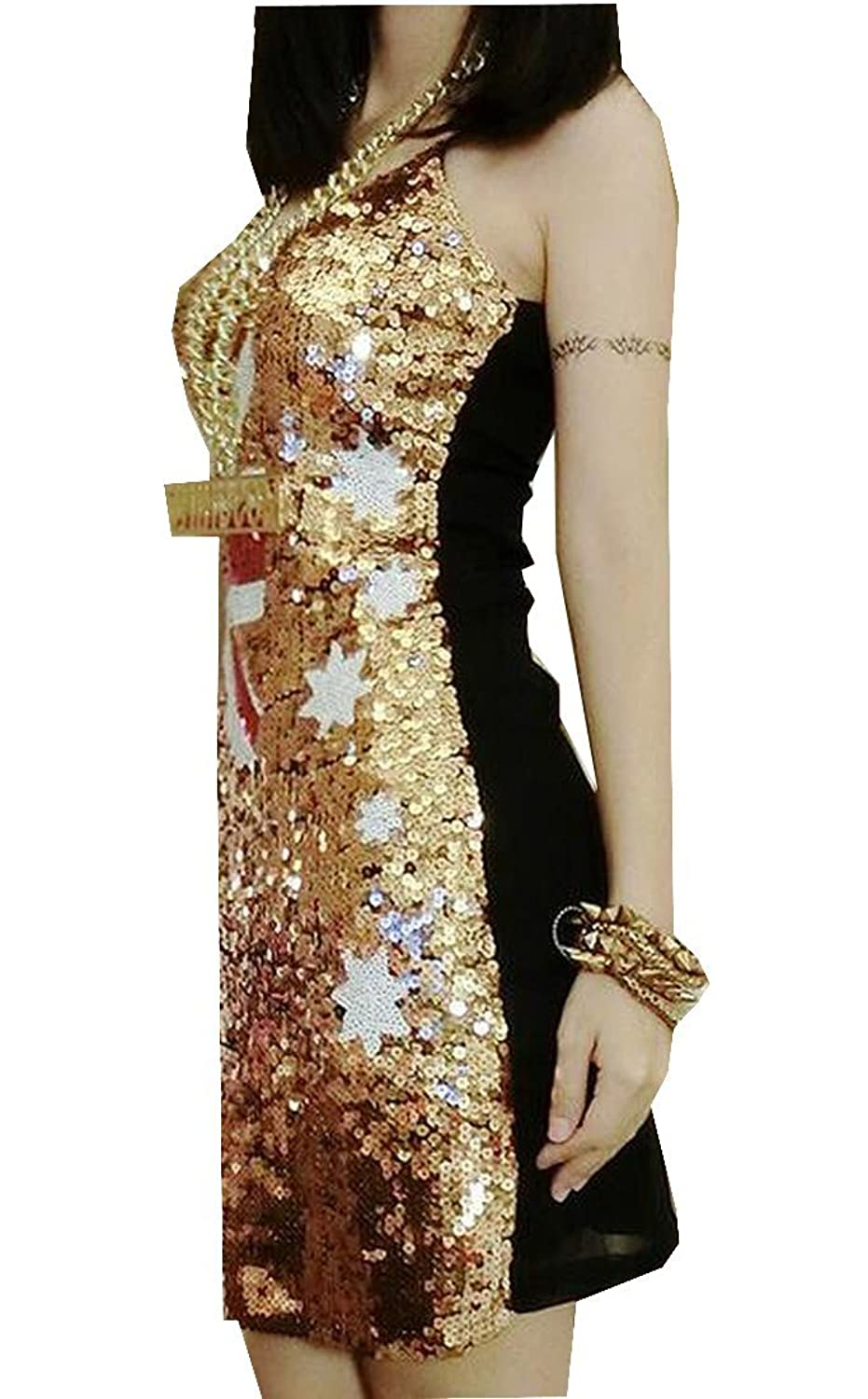 XQS Women's Individuality Printing Sequin Sexy Clubwear Dress