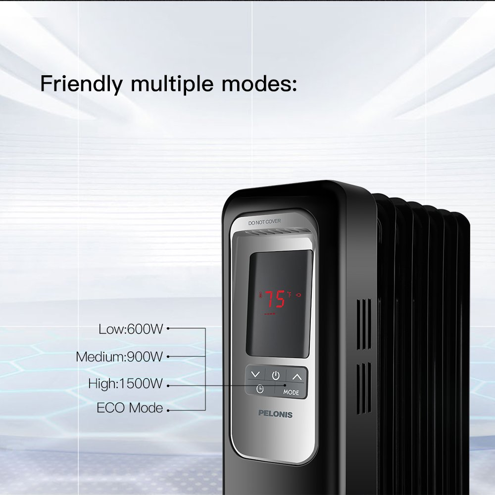 Electric Radiator Heater, 1500W Portable Oil Filled Radiator Space ...