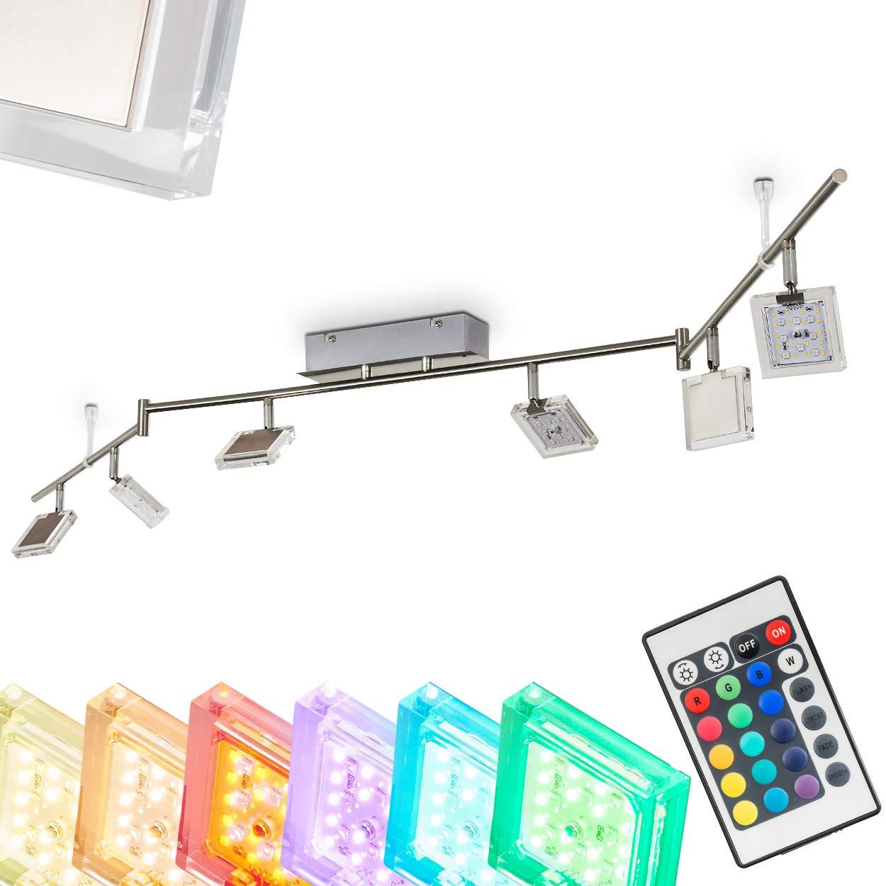 LED Deckenstrahler Parnu 6-flammig – Deckenspot mit Farbwechsler und Fernbedienung - RGB LED Zimmerlampe mit Lichteffekten für Wohnzimmer – 3000 Kelvin – 1800 Lumen – Spots dreh- und schwenkbar
