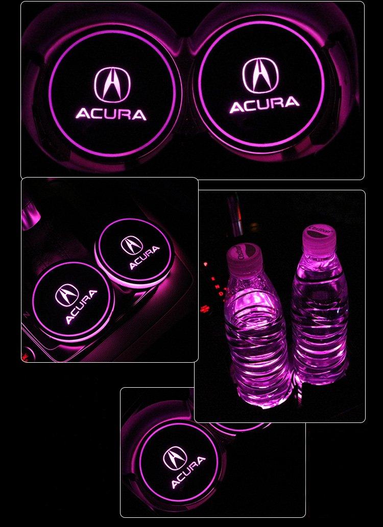 Bearfire Car Logo LED Cup Pad cup holder light USB Charging Mat Luminescent Cup Pad LED Mat Interior Atmosphere Lamp Decoration Light Lexus