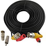 BNC Cable 60FT Video Power All-in-One Extension Cable CCTV Camera Wire with BNC RCA Connectors for Security Camera Systems