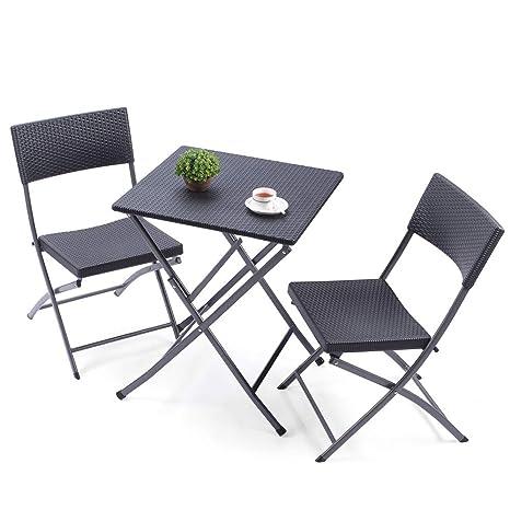RFIVER Conjunto de Muebles Plegables Incluye 1 Mesa y 2 Sillas Hecho de PE de Color Negro para Jardín Patio Terraza CH1004