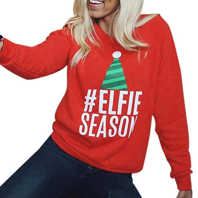 Koly Mujer Señoras Navidad Manga larga O-cuello Carta Sweatershirt Blouse Lana Camisetas y tops