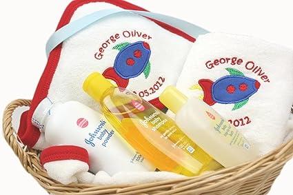 Personalizable Baby Boy con capucha toalla y paño de lavado cesta de regalo diseño de Rocket