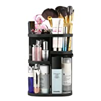 Jerrybox Makeup Organizer 360 Degree Rotation Adjustable Multi-Function Cosmetic Storage Box, Large Capacity, 7 Layers, Fits Toner, Creams, Makeup Brushes, Lipsticks and More (Black)