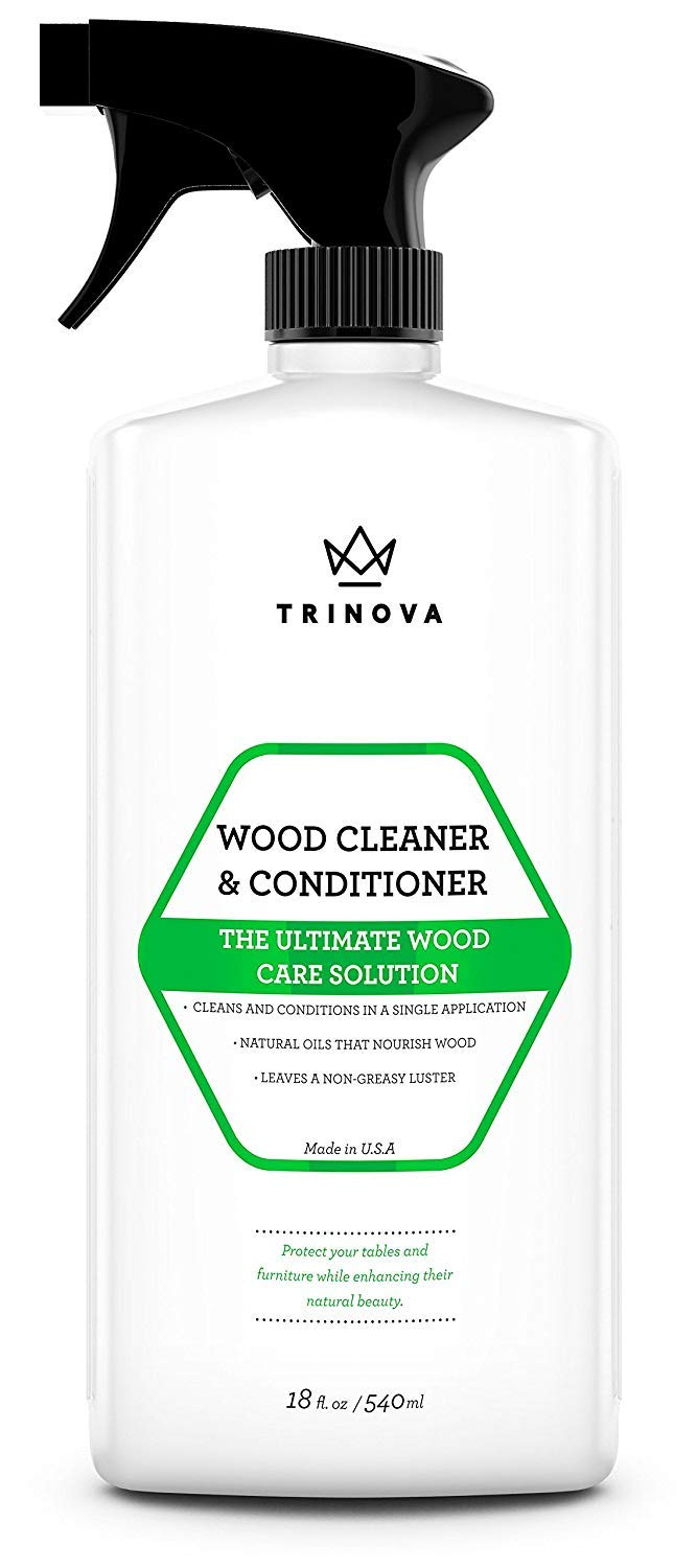 Wood Cleaner, Conditioner, Wax & Polish - Spray for Furniture & Cabinets - Removes Stains & Restores Shine - Wax & Oil Polisher - Works on Stained & Unfinished Surfaces - 18 OZ - TriNova by TriNova