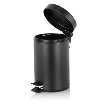 Fortune Candy Round Step Trash Can 0.8 Gallon (3L), Carbon Steel, Garbage
