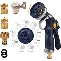 Newcreating 2019 Upgrade Garden Hose Nozzle Spray Gun,Heavy Metal Material, High Pressure Water Gun, Multiple Modes, Suitable For Car AndPet Washing, Watering Lawn And Garden …