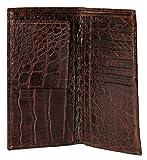 Sultan Genuine Alligator Unisex Checkbook Wallet - Brown Safari (Semi-Gloss) - One Size