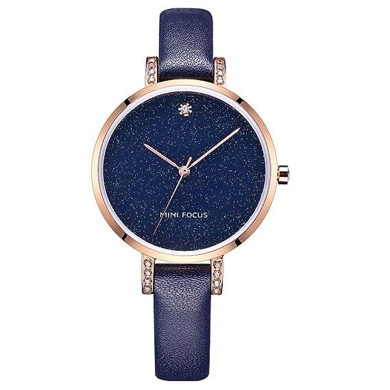 Reloj de Cuarzo para Mujer Reloj de señora Creative Star Sky Dial Reloj de Pulsera de Cuero Genuino a Prueba de Agua Relojes para Regalo: Amazon.es: Relojes