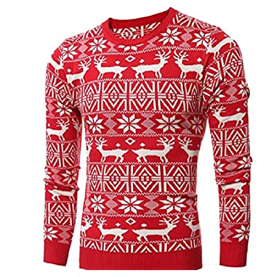 Discount Pivaconis Men Christmas Crewneck Thicken Print Sweater Outwear Pullover free shipping