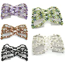 Lovef 5pcs New Stretch Flower Bow Glass Bead Hair Head Comb Cuff Double Clip Good Gift