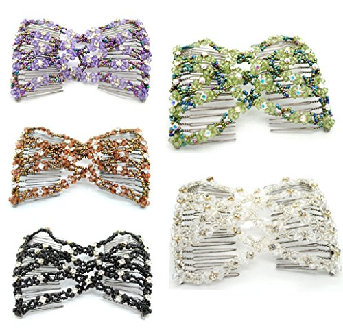 Lovef 5pcs New Stretch Flower Bow Glass Bead Hair Head Comb