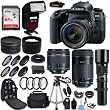 Canon EOS 77D DSLR Camera + Canon 18-55mm IS STM Lens + Canon EF-S 55-250mm Lens & 500mm f/8.0 Lens + 0.43 WideAngle Lens + 2.2 Telephoto Lens + Macro Close-ups + Accessories (Holiday Special Kit)