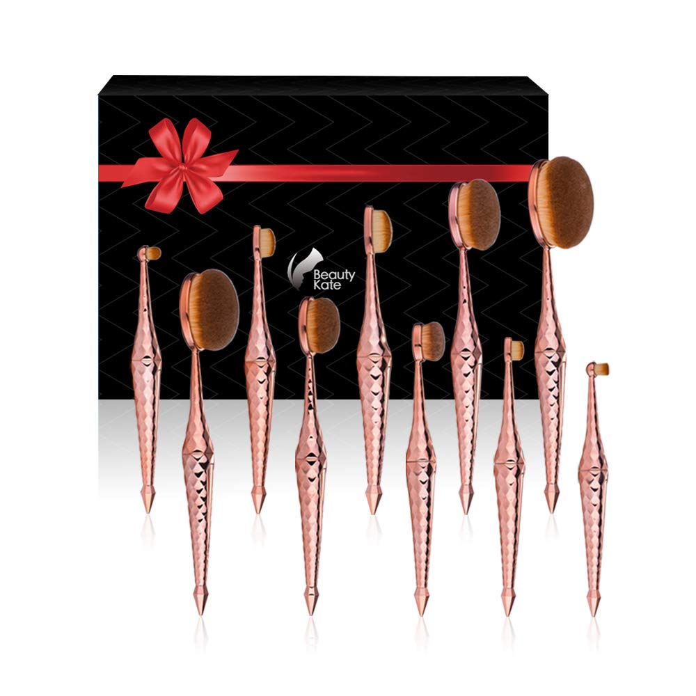 Beauty Kate Oval Makeup Brush Set Diamond Mermaid Oval Brush 10pcs Cosmetics Makeup Brushes Set (Rose Gold) - Professional Concealer Brush Foundation xing