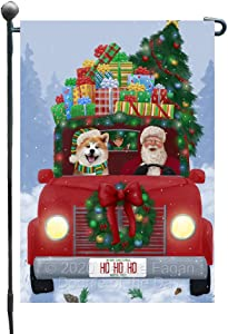 Doggie of the Day Christmas Honk Honk Red Truck Here Comes with Santa and Akita Dog Garden Flag GFLG66513