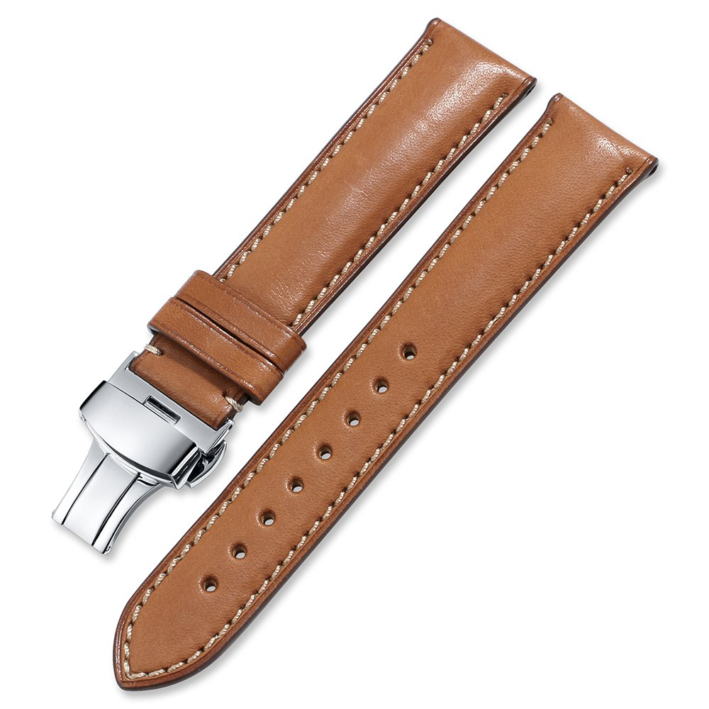 iStrap Calf Leather Watch Strap Quick Release Band Deployant Clasp Replacement 18 19 20 21 22 24mm by iStrap