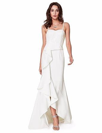 533bb7a4ec07 Ever-Pretty Sleeveless Spaghetti Straps Long Sexy Evening Dresses for Women  4 US White