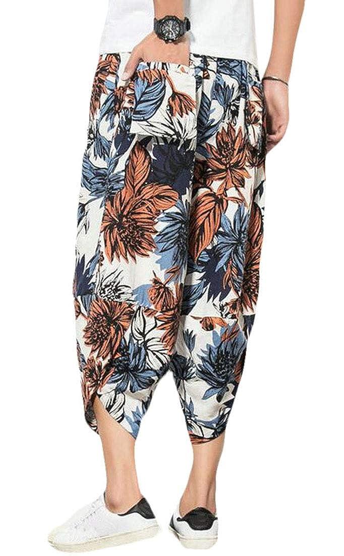 Alion Men Harem Pants Floral Print Loose Cotton Line Joggers Trousers Pants