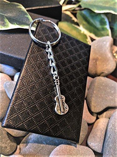 Handmade Silver Musician Guitar Keyring / Handbag Charm