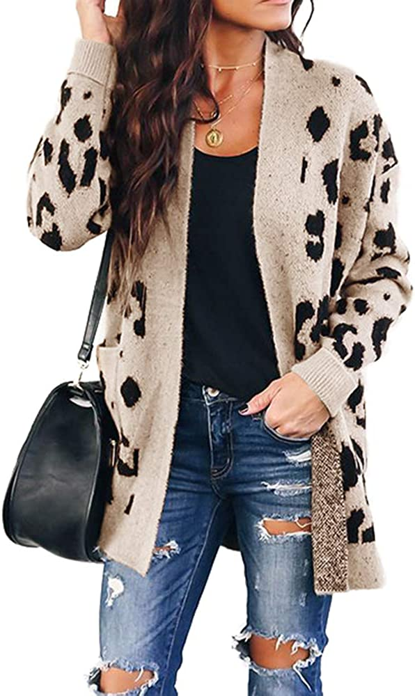 Chang Yun Superior Women's Limited price sale Leopard Cardigan Open Front Knit Kimo Sweaters