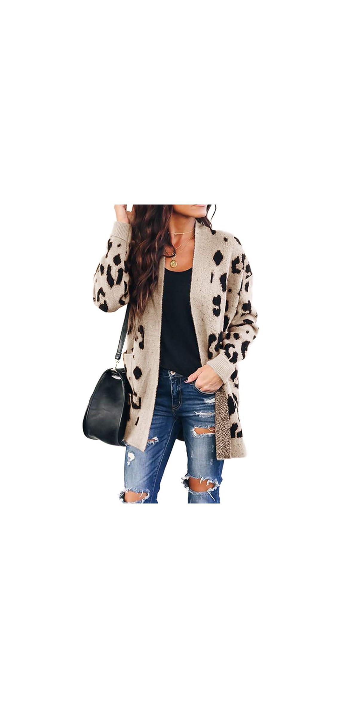 Women's Leopard Cardigan Sweaters Open Front Knit Long