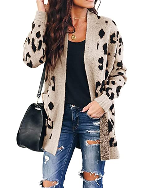 Amazon.com: Chang Yun Mujeres Leopardo Cardigan Suéteres ...