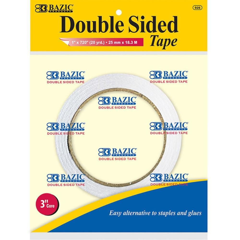 BAZIC 2.5cm X 20 Yard (1830cm) Double Sided Tape, Box Pack of 12 B008SGS028